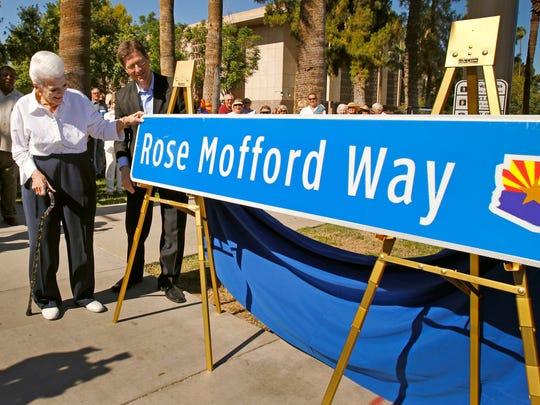 Former Gov. Rose Mofford and Phoenix Mayor Greg Stanton