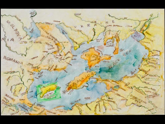 Nell Painter's 'Black Sea Composite Map 4' is a 2012 acrylic work on Yupo.