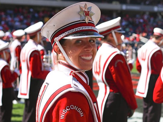 Cymbalist Stephanie Miller performed with the UW Marching