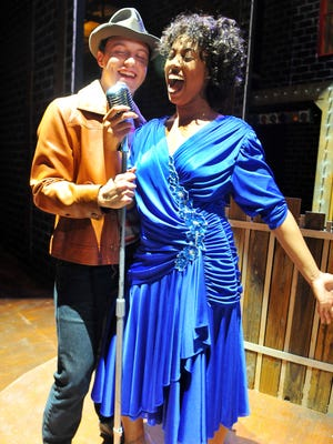 Joey Paris of Palm Bay as Huey Calhoun and Shara Kyles of Melbourne as Felicia Farrell in Memphis the musical opening Oct 2 -18 at the Henegar Center Melbourne.