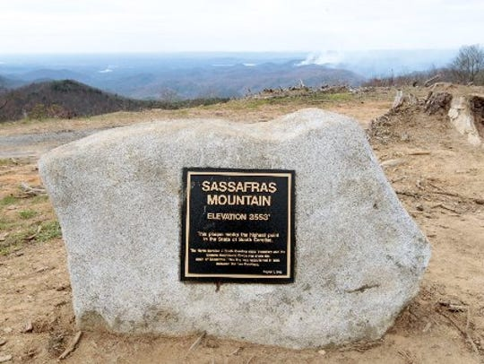 A plaque marks Sassafras Mountain, the highest peak
