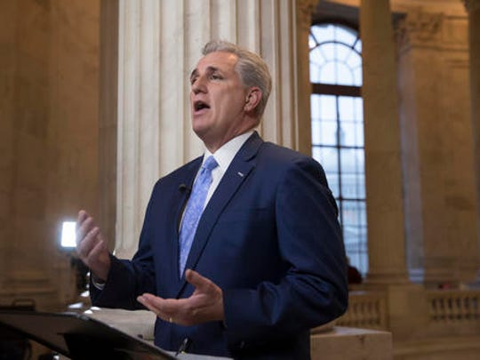 House Majority Leader Kevin McCarthy of Calif. discusses the move by House Republicans to eviscerate the independent Office of Government Ethics, during a network television interview on Capitol Hill in Washington, Tuesday, Jan. 3, 2017. McCarthy voted against the amendment but defended the overall effort by his caucus.