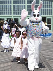 04/24/11- ASBURY PARK- The Easter bunny leads young