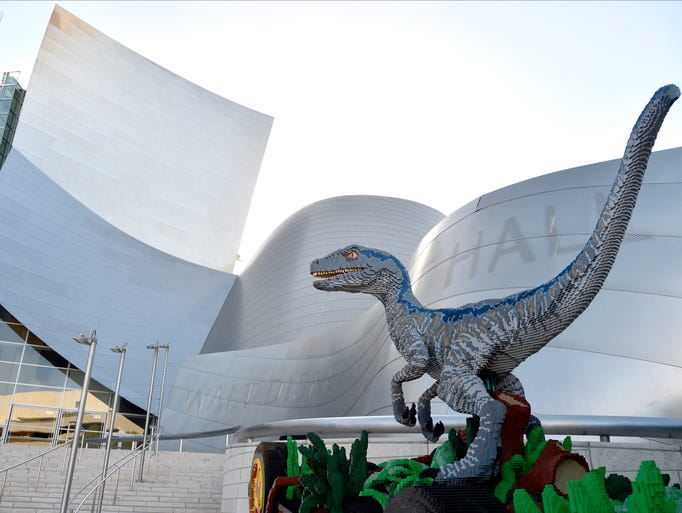 What's a dinosaur doing in Los Angeles? It's hanging