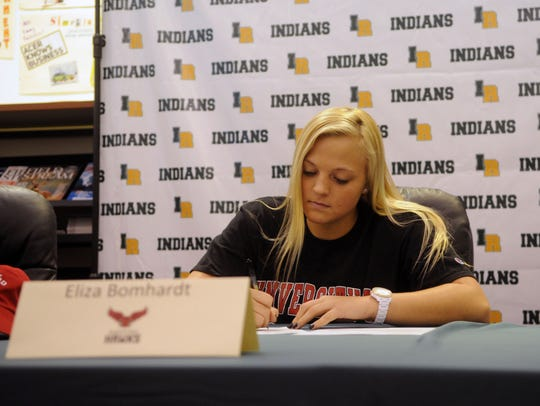 Indian River softball player Eliza Bomhardt signs her