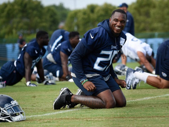 Titans cornerback Demontre Hurst (20) shares a laugh with a teammate during practice at Saint Thomas Sports Park Friday, July 27, 2018, in Nashville, Tenn.