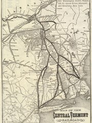 Map showing rail routes from Canada through Vermont illustrating why Burlington and Winooski were the gateway for French-Canadians entering New England.