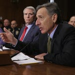 Vermont Gov. Peter Shumlin testifies before the Senate Judiciary Committee about the impact of heroin and prescription drug abuse in his state during a hearing with, from left, Sen. Kelly Ayotte (R-N.H.), Sen. Jeanne Shaheen (D-N.H.) and Sen. Rob Portman (R-Ohio) on January 27, 2016.