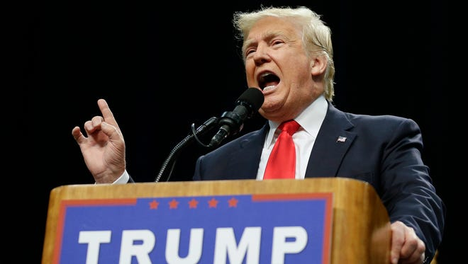 Presumptive Republican presidential nominee Donald Trump spoke May 27, 2016, during a rally in San Diego.