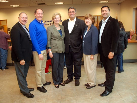 Union County Clerk Joanne Rajoppi, third from left, hosted a Passport Day 2015 event at the County Clerk's Office Annex in Westfield earlier this month. Joining her at the event, from left, were Union Couinty Freeholders Angel G. Estrada, Vice Chairman Bruce H. Bergen, Alexander Mirabella, Bette Jane Kowalski and Sergio Granados. To help travelers avoid the stress and expense of last-minute passport applications, Rajoppi invites Union County residents to apply for or renew their passports. For more details visit the County Clerk online at ucnj.org/county-clerk, call the Westfield Annex at 908-654-9859, or call the main office in Elizabeth at 908-527-4966.
