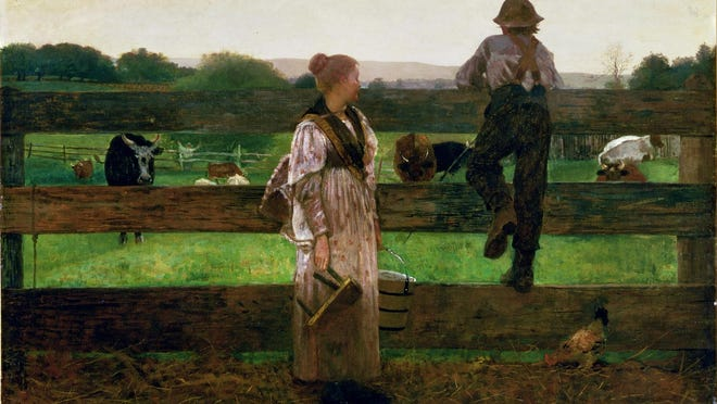 """""""Milking Time,"""" an 1875 oil painting on canvas by Winslow Homer, is among the Delaware Art Museum's most important pieces, but has gone missing from the museum's collections database."""