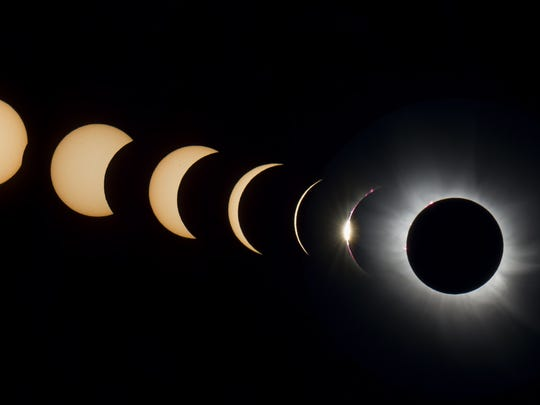 Kevin Morefield provided this time-lapse photo of the progression of a total solar eclipse over Svalbard, Norway, in 2015.