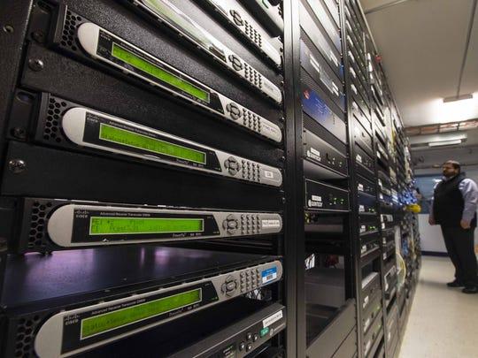 Burlington Telecom's server room on Wednesday, December 16, 2015.