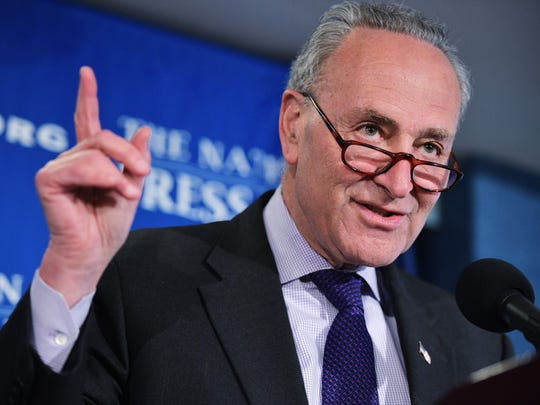 Senate Minority Leader Charles Schumer speaks during a press conference with at the National Press Club on Feb. 27, 2017, a day ahead of US President Donald Trump's scheduled address to a joint session of Congress.