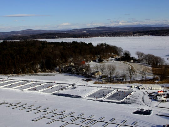 A view from the air of Malletts Bay, set up for the Pond Hockey Classic