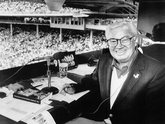 Chicago Cub's announcer Harry Caray sits in the broadcast booth, Tuesday, May 19, 1987 in Chicago at Wrigely Field.