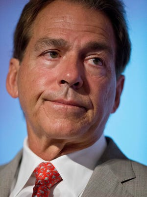 """Nick Saban, pictured at SEC media days on Wednesday, said, """"I think it's important that we all have a level playing field."""""""