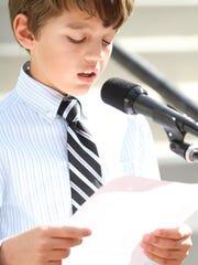 Jacob Brock recites some of his award winning essay