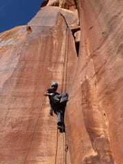 Rob Pioche climbs at Indian Creek, Utah, in November.