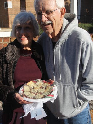 Dot and Jim Skofronick with Coconut Jam Bars.