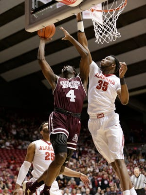 Mario Kegler finished with 5 points and five rebounds against Alabama.
