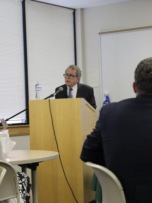 Ohio Attorney General Mike DeWine speaks to a group of journalists Wednesday at Ohio University Pickerington.