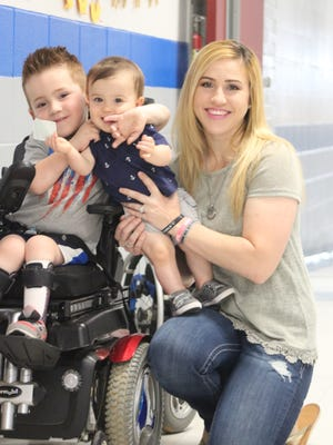 Lindsay Becton with her sons, Steele and Brave.