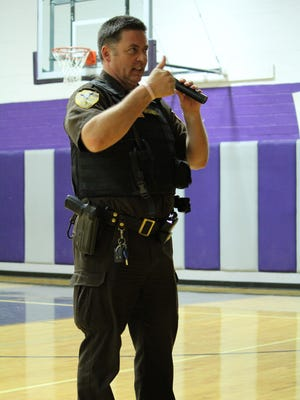 Former Pondera County Deputy Sheriff and School Resource Officer Ross Drishinski speaks at Valier Public Schools during Red Ribbon Week in 2016.