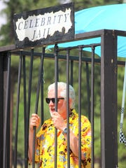 Mayor Lynn D. Crawford awaits bail donations from event