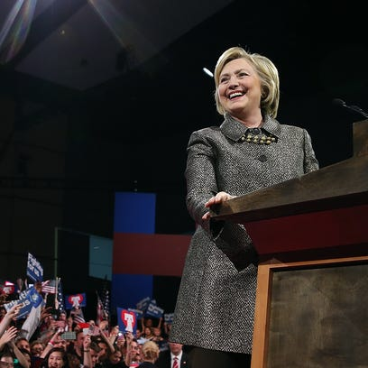 Hillary Clinton speaks during her primary night gathering at the Philadelphia Convention Center on April 26, 2016.
