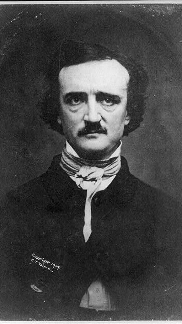 An 1848 daguerreotype photograph of Edgar Allan Poe