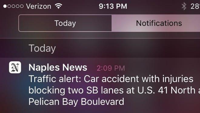 Screenshot of a Naples Daily News notification.