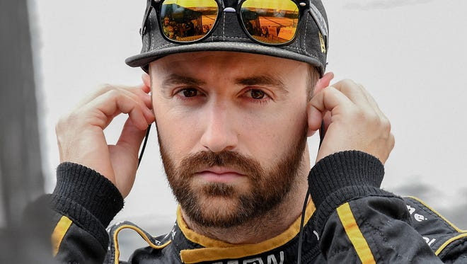 Schmidt Peterson Motorsports IndyCar driver James Hinchcliffe (5) during the morning practice for the IndyCar Grand Prix at the Indianapolis Motor Speedway on Saturday, May 12, 2018.