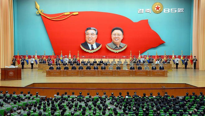 This picture on April 24, 2017 and released from North Korea's official Korean Central News Agency (KCNA) on April 25 shows a national meeting at the People's Palace of Culture in celebration of the 85th founding anniversary of the Korean People's Army.