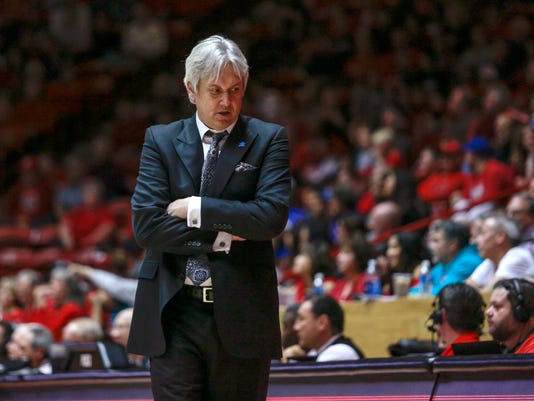 New Mexico coach Craig Neal reacts to a call during the second half of the team's NCAA college basketball game against San Jose State in Albuquerque, N.M., Saturday, Feb. 4, 2017. San Jose State on 78-68. (AP Photo/Juan Antonio Labreche)