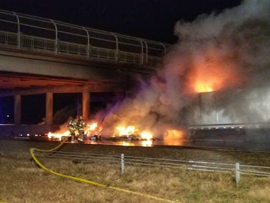 A truck fire near the exit to Highway 20 on northbound