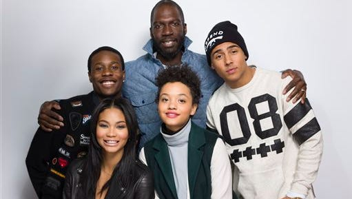 """Shameik Moore, from top left, director Rick Famuyiwa, Quincy Brown, and from bottom left, Chanel Iman and Kiersey Clemons pose for a portrait to promote the film, """"Dope"""", at the Eddie Bauer Adventure House during the Sundance Film Festival n Park City, Utah."""