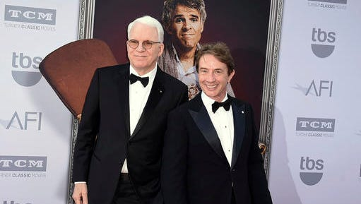"""FILE - This June 4, 2015 file photo shows honoree Steve Martin left, and Martin Short at the 43rd AFI Lifetime Achievement Award Tribute Gala in Los Angeles. Steve Martin and Martin Short are gearing up for a national tour, """"An Evening You Will Forget for the Rest of Your Life,"""" which launches on Friday in Sarasota, Fla."""