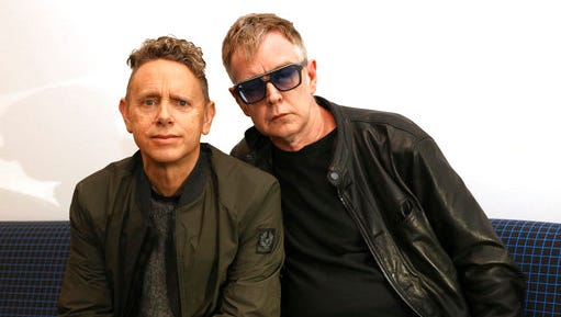 "In this March 8, 2017 photo, Martin Gore, left, and Andy Fletcher of Depeche Mode pose for a photo to promote their new album, ""Spirit."" Depeche Mode's 28-show North American tour will start in Salt Lake City in August."