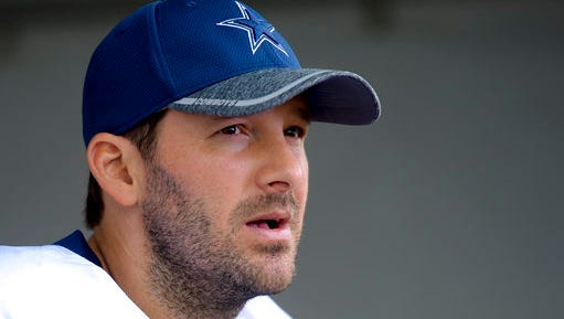 FILE - In this Aug. 1, 2016, file photo, Dallas Cowboys quarterback Tony Romo takes to reporters at the end of practice in Oxnard, Calif. A person with knowledge of the decision says Romo is retiring rather than trying to chase a Super Bowl with another team after losing his starting job with the Dallas Cowboys. The all-time passing leader for the storied franchise is headed to the broadcast booth after considering those offers. The person spoke to The Associated Press on condition of anonymity Tuesday, April 4, 2017, because Romo's decision hasn't been announced.