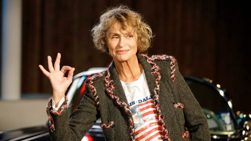 FILE - In this Dec. 10, 2013, file photo, model and actress Lauren Hutton poses for photos after arriving for Chanel's Metiers d'Art fashion show in Dallas. Hutton stars in a new Calvin Klein underwear campaign that debuted on April 18, 2017.