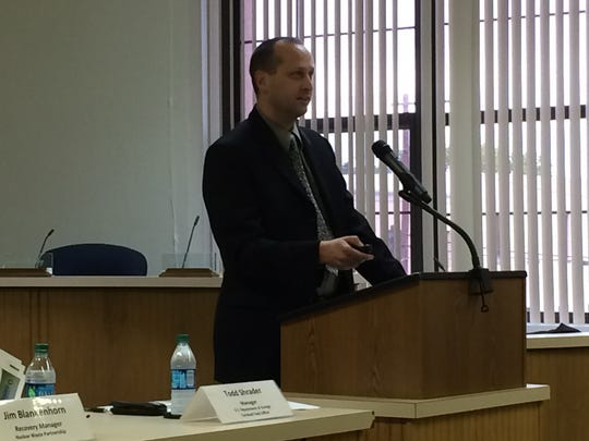 Todd Shrader, the new Department of Energy Carlsbad Field Office manager, speaks at Thursday's town hall.