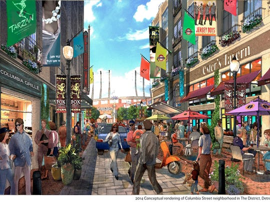An artist rendering shows Columbia Street in the future arena entertainment district proposed by the Ilitches.