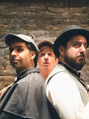 """Denis Lambert, Joe Delafield and Matt Ban in Hudson Stage Company's production of """"The Hound of the Baskervilles"""" on stage at Whippoorwill Hall Theater in Armonk April 28 to May 13. Details at www.hudsonstage.com."""