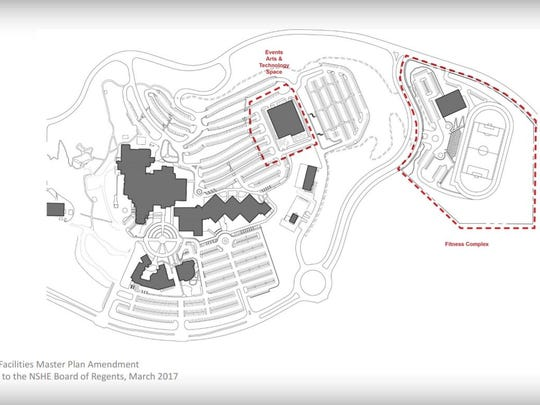 The outlined area on the right shows a proposed TMCC fitness complex