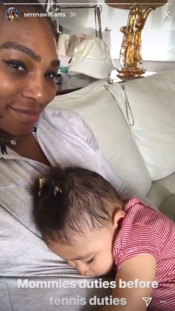 Serena Williams is joyfully embracing 'Mom Life' during French Open