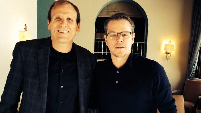 Water.org founders Gary White, left, and Matt Damon in Davos, Switzerland, on Jan. 23, 2014.