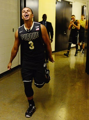 Purdue Boilermakers forward P.J. Thompson celebrates at Assembly Hall after the Boilers beat the Hoosiers.