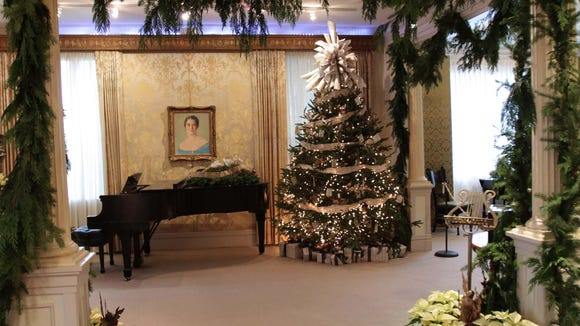 The Christmas tree in the Historic Biedenharn Home at the Biedenharn Museum and Gardens.