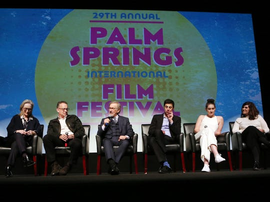 Actors Meryl Streep, left, Tom Hanks, director Steven Spielberg, screenwriters Josh Singer and Liz Hannah and producers Amy Pascal and Kristie Macosko Krieger participate in a panel discussion prior to the screening of The Post at the Palm Springs International Film Festival in Palm Springs on Thursday, January 4, 2018.